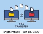 file transfer. two computers... | Shutterstock .eps vector #1051879829
