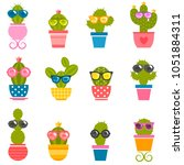 set of cactuses with sunglasses | Shutterstock .eps vector #1051884311
