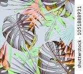 seamless tropical flower  plant ... | Shutterstock . vector #1051888931
