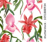 seamless tropical flower  plant ... | Shutterstock . vector #1051888934