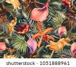 seamless tropical flower  plant ... | Shutterstock . vector #1051888961