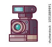 vintage retro camera with flash.... | Shutterstock .eps vector #1051889891