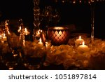 romantic table candlelight and... | Shutterstock . vector #1051897814