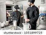 chef cook with young woman... | Shutterstock . vector #1051899725