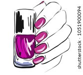 nail polish in the hand  well... | Shutterstock .eps vector #1051900094