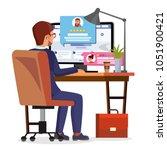 man writing client testimonial... | Shutterstock .eps vector #1051900421
