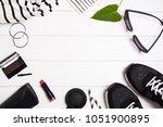black and white female items.... | Shutterstock . vector #1051900895