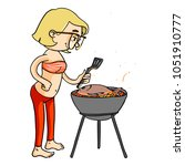 cute cartoon girl cooking... | Shutterstock .eps vector #1051910777