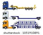 vector semi trucks set isolated ...   Shutterstock .eps vector #1051910891