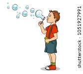 kid blowing soap bubbles pop... | Shutterstock .eps vector #1051927991