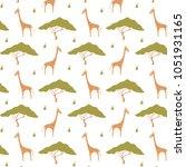 giraffe pattern print | Shutterstock .eps vector #1051931165