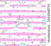 cute hand drawn unicorn vector... | Shutterstock .eps vector #1051948751