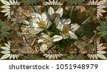 vector mosaic with flowers... | Shutterstock .eps vector #1051948979