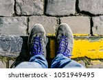 reaching a crossroads having to ... | Shutterstock . vector #1051949495