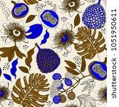 exotic fruits vector... | Shutterstock .eps vector #1051950611