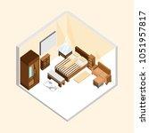 natural wood classic bedroom... | Shutterstock .eps vector #1051957817
