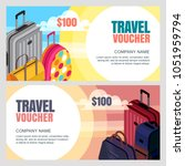 vector travel voucher template. ... | Shutterstock .eps vector #1051959794