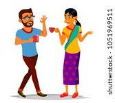 talking indian man and woman.... | Shutterstock . vector #1051969511
