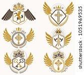 collection of vector heraldic... | Shutterstock .eps vector #1051969535