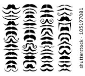Huge set of vector mustache. - stock vector