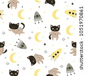 seamless pattern with cute cats ... | Shutterstock .eps vector #1051970861