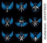 vintage weapon emblems set.... | Shutterstock .eps vector #1051975025