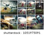 the collage about football... | Shutterstock . vector #1051975091