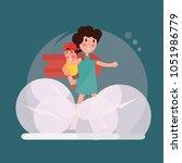 super hero  super mom. happy... | Shutterstock .eps vector #1051986779