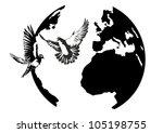White Doves Flying Against The...