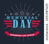 memorial day background with... | Shutterstock .eps vector #1051987625