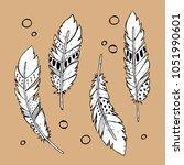 vector set of hand drawn tribal ... | Shutterstock .eps vector #1051990601
