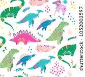 hand drawn cute dinosaurs.... | Shutterstock .eps vector #1052003597