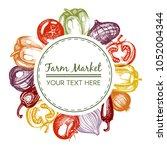 vector frame with vegetables | Shutterstock .eps vector #1052004344