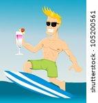 cartoon surfer   Shutterstock .eps vector #105200561