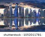 Stock photo doha city skyline city center at night qatar 1052011781