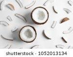 ripe coconuts on white... | Shutterstock . vector #1052013134