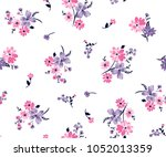 Stock vector floral bouquet vector pattern with small flowers and leaves 1052013359