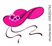 elegant female hat with flowers ... | Shutterstock .eps vector #105201761