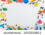 top view of white tabletop with ... | Shutterstock . vector #1052020811