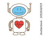 technological robot with heart...   Shutterstock .eps vector #1052026919