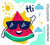 cute cartoon watermelon... | Shutterstock .eps vector #1052037521