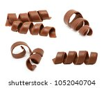 chocolate curl set isolated on... | Shutterstock . vector #1052040704
