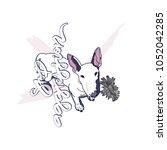stop aggression. bull terrier... | Shutterstock .eps vector #1052042285