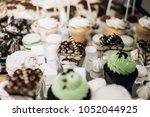 delicious white cookies ... | Shutterstock . vector #1052044925