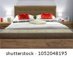 new double bedroom with pillows ... | Shutterstock . vector #1052048195