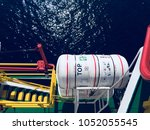 Part  of ship HD image, offshore vessel life savings appliance at ship, life rafts secured at PSV life raft station STBD