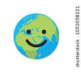 smiling cartoon flat globe.... | Shutterstock .eps vector #1052058221