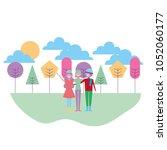 people seasonal time | Shutterstock .eps vector #1052060177