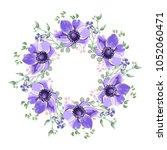 blue anemones flowers wreath ... | Shutterstock .eps vector #1052060471