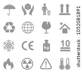 packing icons. gray flat design.... | Shutterstock .eps vector #1052081891